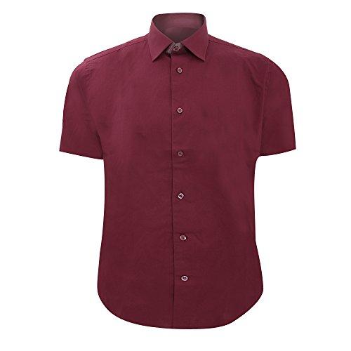 Chemise à Manches Courtes Russell Collection pour Homme (XL) (Bordeaux)
