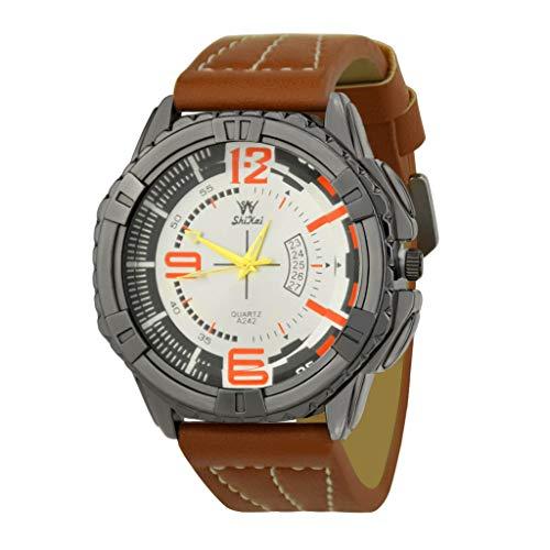 Transer Trend Comfort Personality Guarda Cinturino in Pelle al Quarzo Fashion Casual Watch, per SHIKAI ZYBSK-11 (Orange)