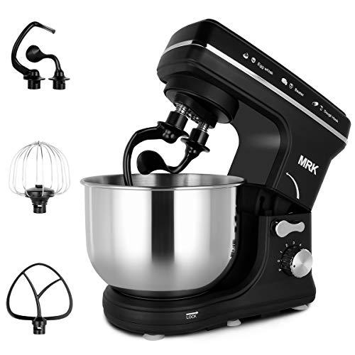 MRK MK-16 Küchenmaschine Multifunktional, Knetmaschine 600W, 6 Geschwindigkeiten Knetmaschine, Teigmaschine, mit Spritzschutz, Anti-Rutsch-Design,mit 4 Zubehören (schwarz)