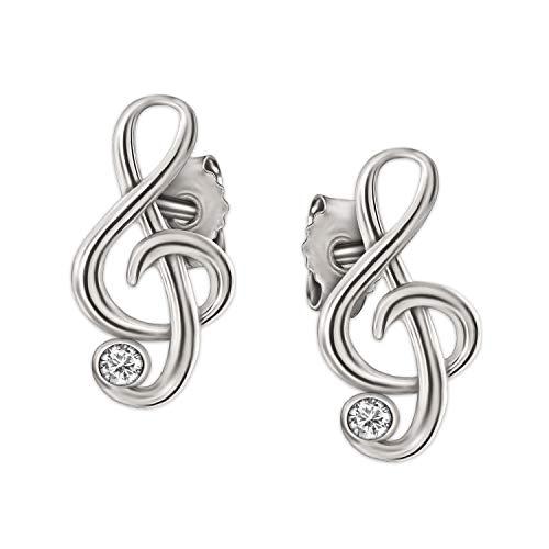 Clever Schmuck - Piccoli ed eleganti orecchini a bottone a forma di nota musicale, in argento bianco 925, con sfavillanti zirconi; dimensioni: 9x 5mm