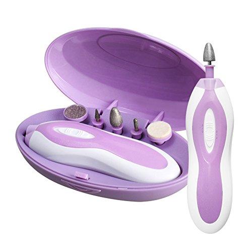 ZLiME 5 en 1 Kit de Manucure et Pédicure Polissoir Electrique Ongles avec 5 Embouts 2 Vitesses 4 Modes Lumière LED Ponceuse Electrique Ongles pour Soin des Mains et des Pieds Usage Domestique - Violet