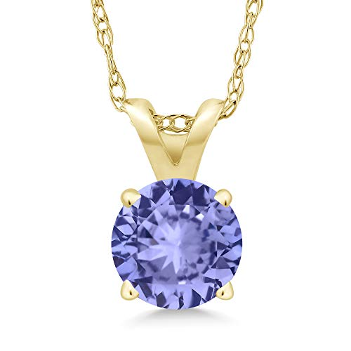 Gem Stone King 14K Yellow Gold Blue Tanzanite Pendant Necklace For Women (0.46 Ct Round 5MM with 18 Inch Chain)