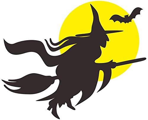 Lustige Hexenbesen Schwarze Fledermaus Magic Monster Vinyl Wandaufkleber Abziehbilder Schlafzimmer Wohnzimmer Kinderzimmer Halloween Dekor Größe:43 * 35CM