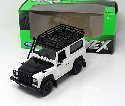 Welly Modell Auto Miniatur 1:24 Land Rover Defender Weiss /schwarz mit Dachgepaäckträger