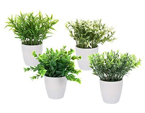Spetebo Kunstpflanze im weißen Blumentopf klein - 4er Set - Tisch Deko Pflanze künstlich Kunstblume