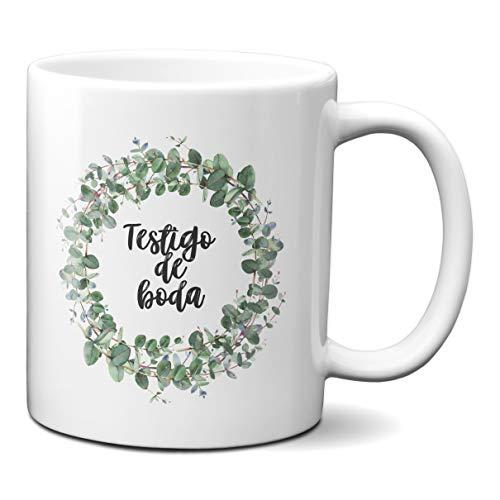 Taza Desayuno Testigo de Boda Regalo Detalle Novios Pareja Casados Ceramica 330 mL