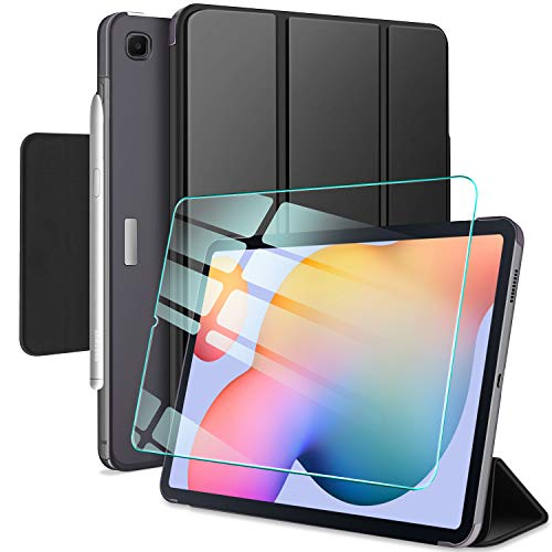 AROYI Custodia Cover per Samsung Galaxy Tab S6 Lite 10.4 + Vetro Temperato, Ultra Sottile Magnetica Clasp Case con Auto Svegliati/Sonno per Samsung Galaxy Tab S6 Lite 10.4 (P610 / P615) Pollici, Nero