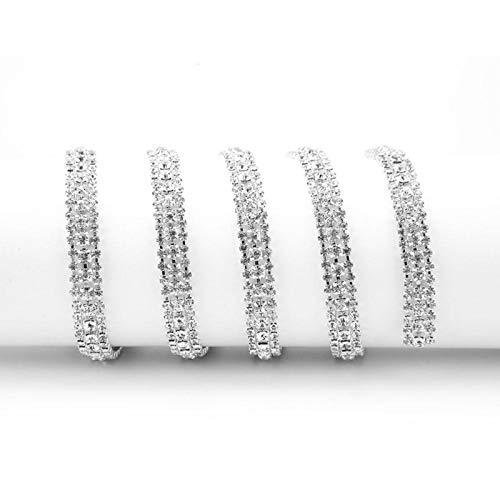 HEEPDD 1 Yarda de Cadena de Diamantes de imitación, 3 Filas DIY AB Color de Costura de Cadena de Diamantes de imitación Artificial Diamante Cristal Bling Cinta Rollo decoración(Plata)
