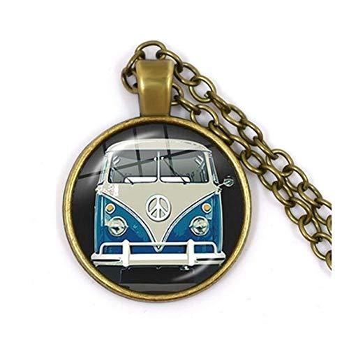 HXSZWJJ Setenta joyería Signo de la Paz Collares Love Bus Surf Beach Summer Hippie Coche Retro Collar Hippi Flower Power (Metal Color : 18)