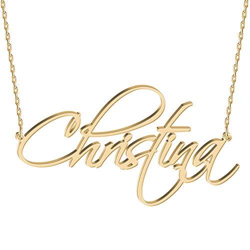 JOELLE JEWELRY Namenskette Damen Halskette mit Namen 925 Sterling Silber in Rosegold/18K...