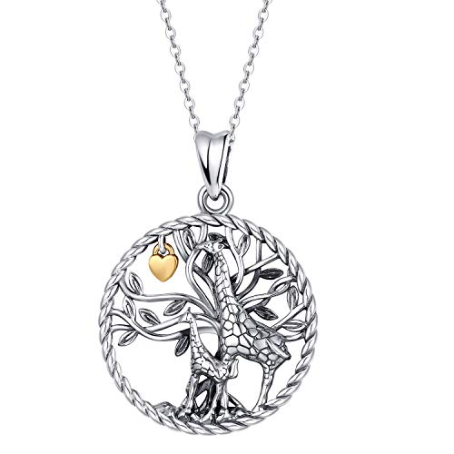 Waysles Giraffe Necklace S925 Sterling Silver Tree of Life Necklace with Love Heart/Giraffe Animal Head Necklace Cute Animal Giraffe Jewelry Gifts for Women Mom Giraffe Round Necklace
