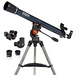 Powerful refractor telescope: The Celestron AstroMaster 70AZ is a powerful and user-friendly refractor telescope with fully coated glass optics, a sturdy yet lightweight frame, two eyepieces, a red dot finder scope, and an adjustable-height tripod. H...
