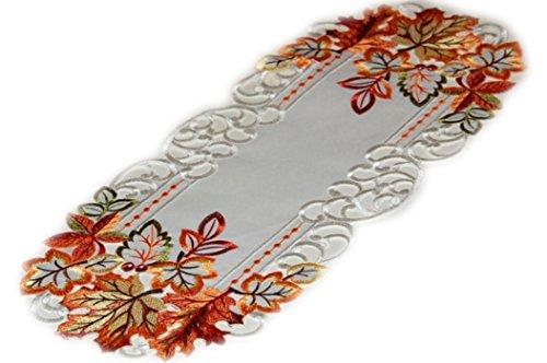 Espamira Decke Herbst Weiß Blätter terrakotta bunt gestickt (Deckchen oval 22x55 cm)