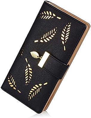 PALAY® Women's Leather Wallet Hollow Leaf Pattern Bifold Long Wallet