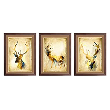 Ardemy Canvas Wall Painting Abstract Elk Triple Watercolor Animal Reindeer Giclee Prints Artwork, Vintage Framed Art 3 Panels Ready to Hang for Living Room Bedroom Dinning Room Home and Office Decor