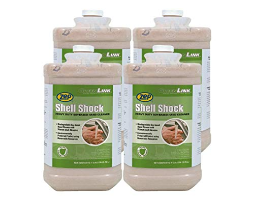 Zep Shell Shock Walnut-Based Pro Hand Cleaner 84923 1 Gallon (Case of 4) - Made with Walnut Shells, Tough on Grease, Nice on Hands