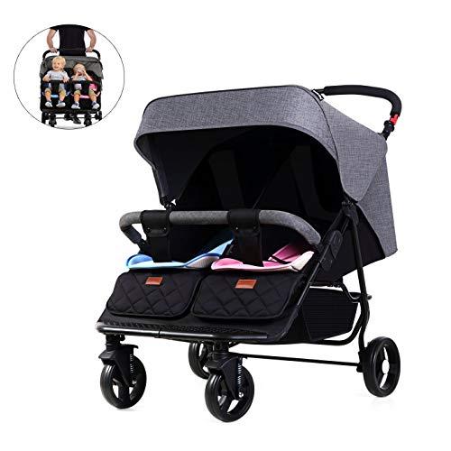 De Boroao 3 in een dubbele kinderwagen kan losgemaakt en licht gevouwen worden en twee dubbele kinderwagens zitten of liggen, zwart.