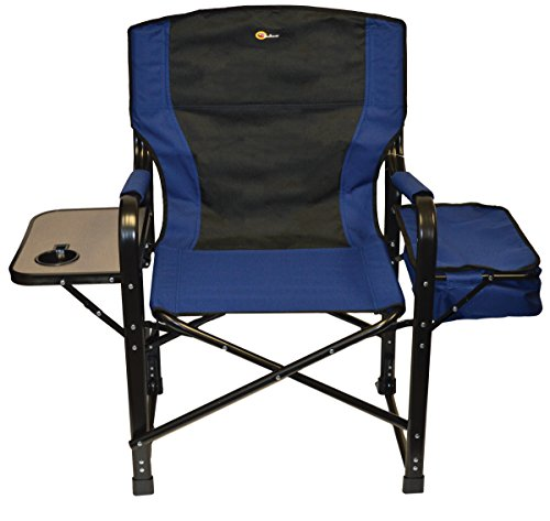 Faulkner 49581 El Capitan Folding Director Chair with Tray and Cooler Bag, Blue/Black
