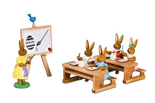 Osterfiguren Hasenschule – Lehrerin mit 4 Schülern - Osterdeko – Holzfiguren - Handarbeit aus dem Erzgebirge - NEU