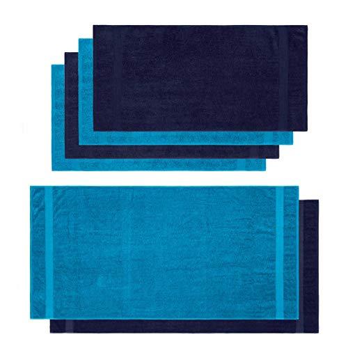 Lumaland - Handdoeken set - 2 badhanddoeken & 4 handdoeken - 100% katoen - Donkerblauw & Turquoise