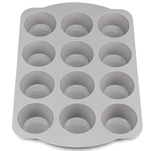 Backefix neues Komfort 12er Muffinblech Silikon mit Griffen - Muffinform für XXL Muffins