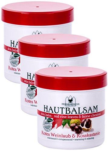 Herbamedicus Rotes Weinlaub & Rosskastanie Creme - 3 x 250 ml