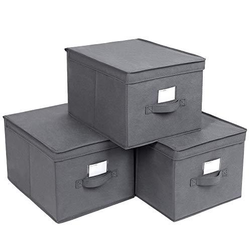 SONGMICS Faltboxen, 3er Set, Aufbewahrungsboxen mit Deckel, Stoffboxen mit Etikettenhalter, Aufbewahrungskörbe, Spielzeug-Organizer, 40 x 30 x 25 cm, grauRFB03G