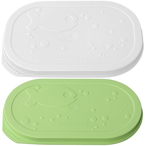 Fackelmann Fischdosendeckel, Dosenverschluss, Frischhaltedeckel (Farbe: Weiß, Grün), Menge: 2 Stück