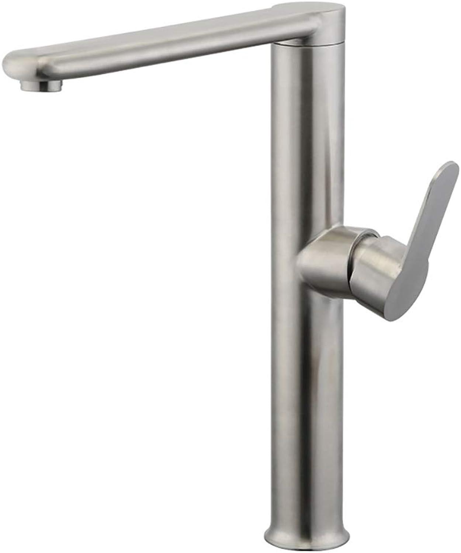 LM-Faucet Mischbatterie Wasserhahn, Flachrohr 360 ° Drehung 304 Edelstahl Warmes und kaltes Mischen, Küche Spüle Gemüsebecken,Chrome