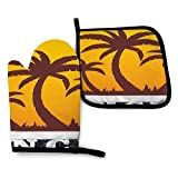 Fodmua Cancun Mexico Sunand Palm22 - Juego de 2 manoplas para horno y ollas