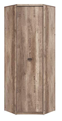 Boardd Malcolm - Armario esquinero grande para pasillo, dormitorio, cajones, armarios, muebles de madera aglomerada, roble monumento/gris, 74,5 x 205,5 x 74,5 cm