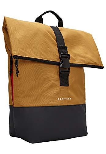 FORVERT Lorenz Unisex Backpack Robuster Daypack,Rucksack,ausgefallenes Design,Wickelverschluss,Innen- und Seitentasche,gepolstert,Ochre,one Size