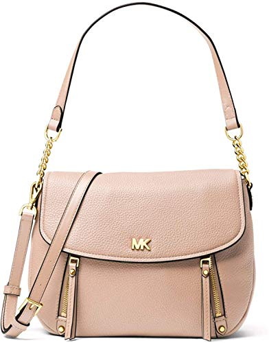 Made of Leather; lining: polyester; Flap closure; 1 interior zip pocket and 4 slip pockets; 1 exterior back snap pocket and 1 front zip pocket 8.5 Inches handle; 20.5-22 Inches strap Gold tone hardware Measurements: Length: 11.5 x Height: 9 x Width: ...