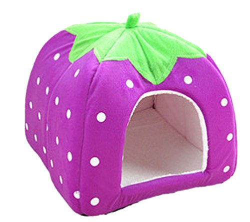 Yiiquan Haustiere Hundebett Premium Katzenhöhle Hundehütte Katzenbett Kuscheliger Erdbeere (Violett, Asia S)