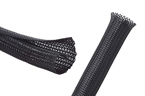 Alex Tech 100ft - 1/2 inch Expandable Sleeving and 25ft - 3/8 inch Split Sleeving Black