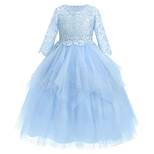 FYMNSI Vestido largo de noche para niña con diseño de flores y tul, para fiestas, bodas, damas de honor, vestido formal 1 azul 11-12 Años