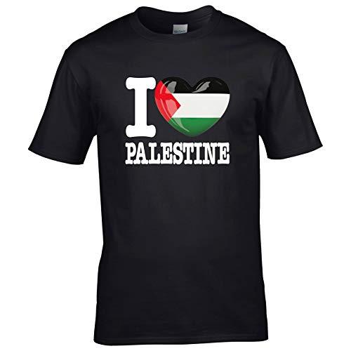 FanShirts4u Herren T-Shirt - I Love PALÄSTINA/Palestine - WM Trikot Liebe Herz Heart (M, Schwarz - I Love Palestine)