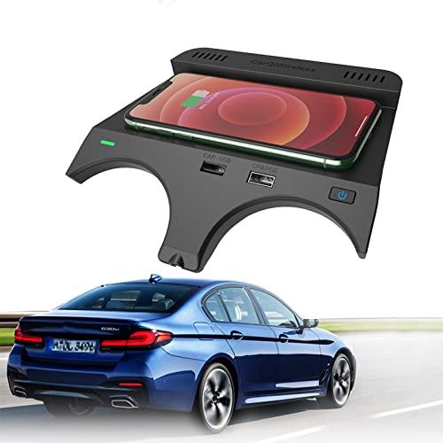 ElecPjf Cargador Inalámbrico para Automóvil Alfombrilla Carga Inalámbrica para Coche para BMW 5 Series M5 2017 2018 2019 2020 2021 6 Series M6 2018 2019 Carga RáPida 10 W para iPhone 13/12/11 Samsung