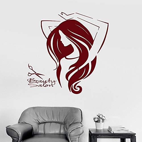 JXWH 70 x 76 cm Salon Bellezza Dames pruik Barbiere Wall Sticker Ontwerp haren applicatie van vinyl verwijderbaar