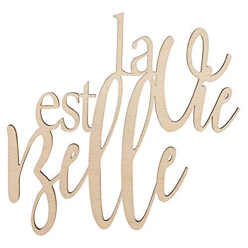 Rayher 46417505 Holzschrift La vie est belle FSC100%, natur, 18,2x17,5x0,4cm, SB-Btl 1 Stück