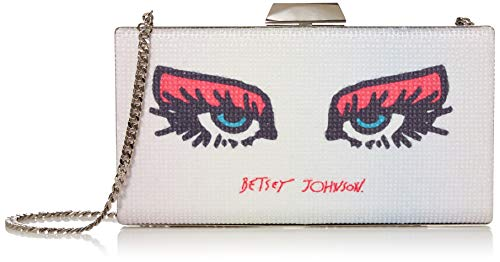 Betsey Johnson See Me, Kiss Me Clutch, Silver