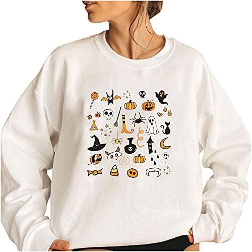 Wave166 Disfraz de Halloween para mujer, jersey de gran tamaño, casual, holgado, ligero, blusa, tops monocromáticos, camisetas deportivas., 4-blanco., XXXL