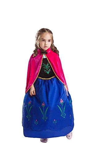 Elsa & Anna Princesa Disfraz Traje Parte las Niñas Vestido (Girls Princess Fancy Dress) Es-Dress208-Sep (5-6 Años, Es-208)