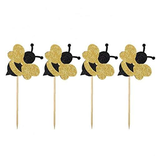24 Pc-Kuchen-Deckel Nette Biene Form-Papier-Kuchen-Deckel-Geburtstags-Party Kuchen Honeybee Fruit Picks Dessert Dekorative Supplies