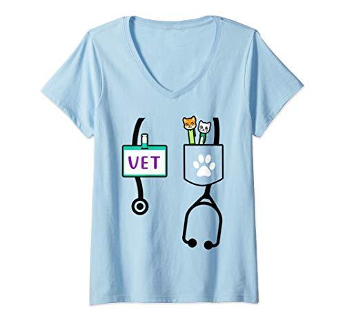 Mujer Regalos para la escuela de veterinaria Futuro veterinario Camiseta Cuello V