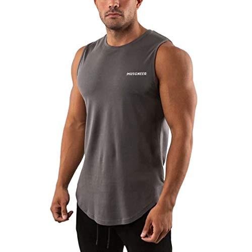 Musgneer(マスリエ) タンクトップ メンズ トレーニング ノースリーブ スポーツウェア 筋トレ Tシャツ ランニング トップス 大きなサイズ 9色 ダークグレー L