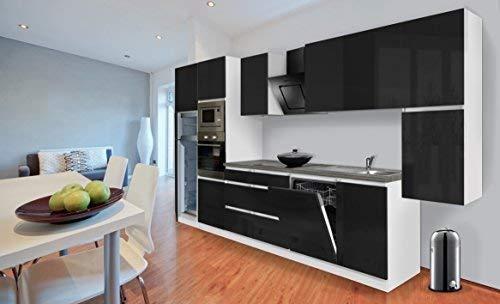 respekta Premium grifflose Küchenzeile Küche Küchenblock 395 cm weiss schwarz hochglanz inkl. Softclose, Induktionskochfeld & Kühl-Gefrierkombination 144 cm