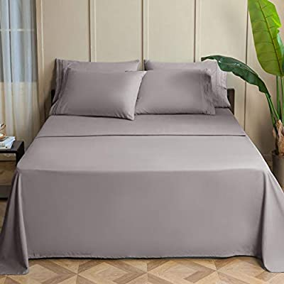 SONORO KATE Bed Sheets Set Sheets Microfiber Super Soft 1800 Thread Count Egyptian Sheets 15-17 Inch Deep Pocket Wrinkle Fade and Hypoallergenic - 6 Piece (Grey, King)