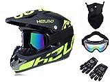 Bduck Casco de downhill para bicicleta de montaña, motocross, enduro, con gafas, máscara facial, guantes de esquí de fondo, toalla de forro coral