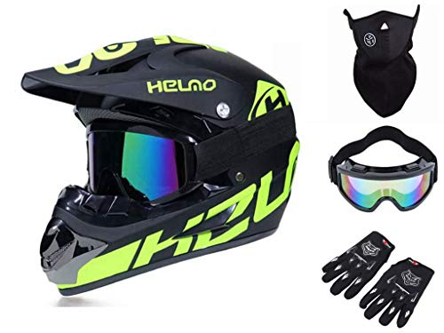 BDUCK - Casco da downhill integrale MTB, da motocross, con occhiali, maschera per il viso, guanti, asciugamano